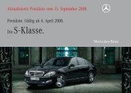 Preisliste Mercedes-Benz S-Klasse Limousine (W/V221) vom 15.09.2008.
