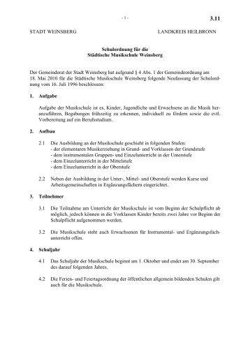 3.11 Schulordnung für die Musikschule - Stadt Weinsberg