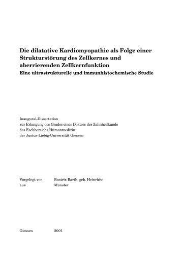 Die dilatative Kardiomyopathie als Folge einer Strukturstörung des ...