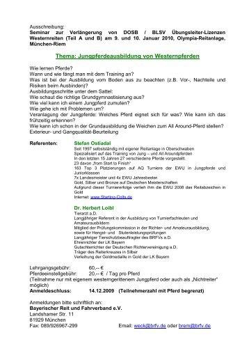 Vorläufiger Zeitplan - Bayerischer Reit