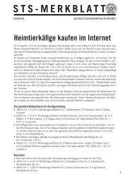 Heimtierkäfige kaufen im Internet - Schweizer Tierschutz STS