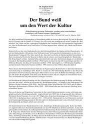 Kulturpolitik des Bundes - Stephan Eisel
