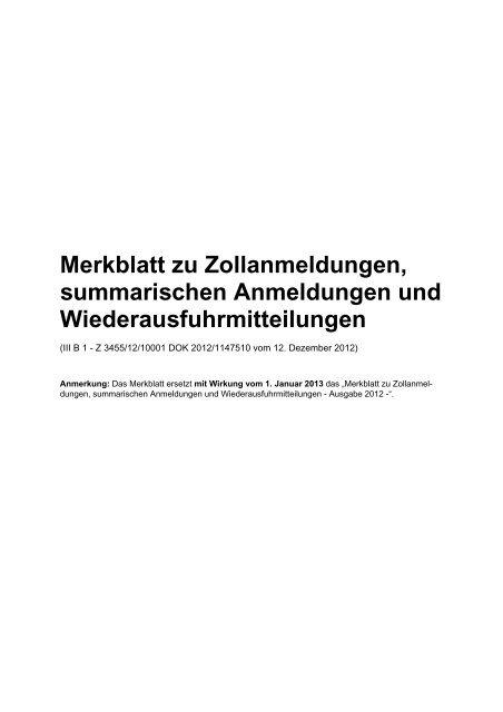 Merkblatt Für Zollanmeldungen Summarische Anmeldungen Idev