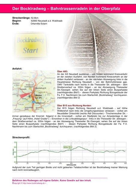 1.Etappe: 92660 Neustadt a.d.Waldnaab bis ... - Der Bocklradweg