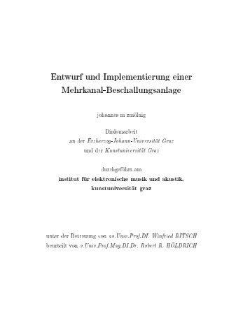 Diplomarbeit - Institut für Elektronische Musik und Akustik - IEM
