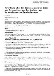Verordnung über den Besitznachweis für Orden und Ehrenzeichen ...