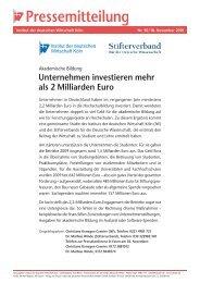 Unternehmen investieren mehr als 2 Milliarden Euro - Stifterverband ...