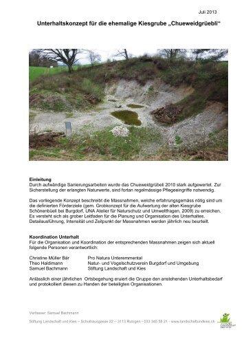 Unterhaltskonzept Grüebli - Natur- und Vogelschutz Burgdorf