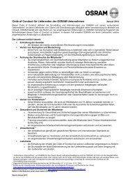 Code of Conduct für Lieferanten der OSRAM Unternehmen