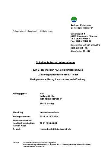 Bebauungsplan Nr. 55: Schalltechnische Untersuchung - VG Mering