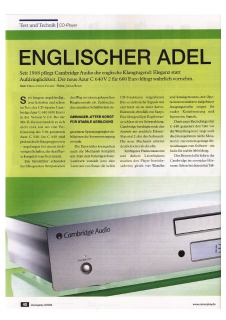 "Cambridge Audio Azur 640C V2 Stereoplay 03/2006 - ""Englischer ..."