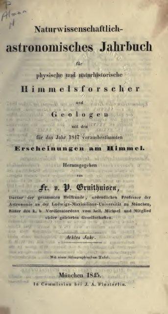 Naturwissenschaftlich-astronomisches Jahrbuch für physische und ...