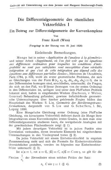 Die Differentialgeometrie des räumlichen Vektorfeldes I