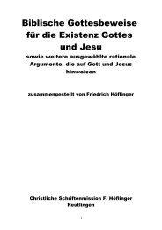 Biblische Gottesbeweise für die Existenz Gottes und Jesu