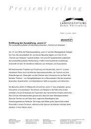 Pressemappe zur Eröffnung - Baden-Württemberg Stiftung