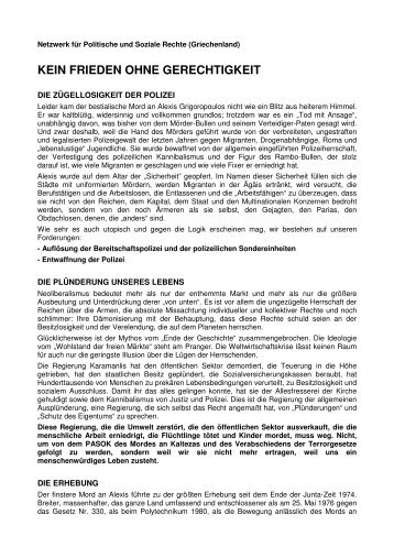 Erklärung des Netzwerk für soziale und politische Rechte