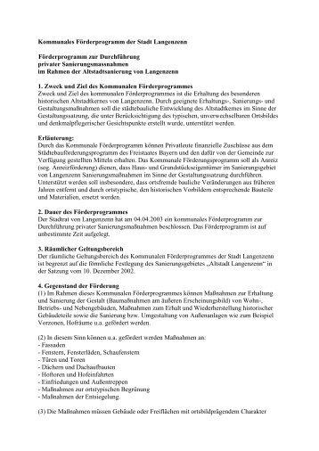 Kommunales Förderprogramm der Stadt Langenzenn ...