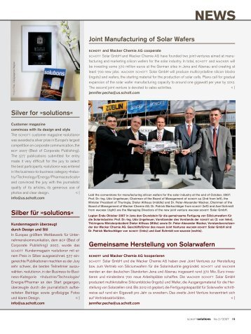 Joint Manufacturing of Solar Wafers Silver for »solutions« Silber für ...