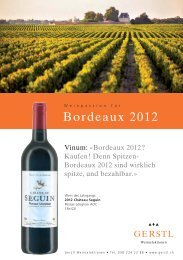 das komplette Angebot Bordeaux 2012 - Gerstl Weinselektionen