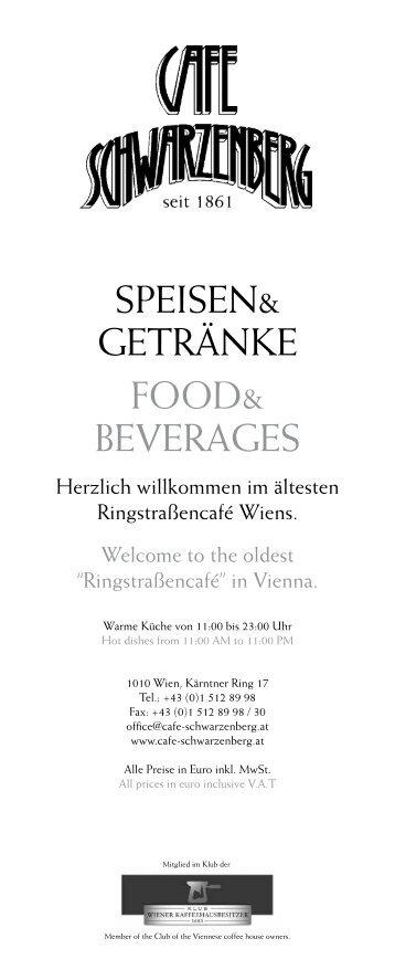 Speisekarte - Café Schwarzenberg
