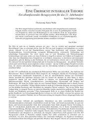 Eine Übersicht Integraler Theorie - Integrales Forum
