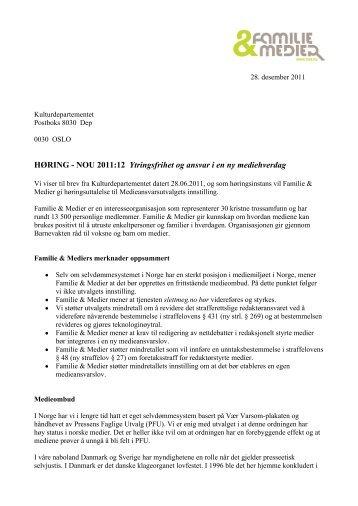 Høring - Ytringsfrihet og ansvar i en ny ... - Familie & Medier