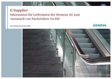 eSupplier Info für Lieferanten - Siemens