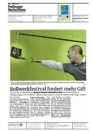Bollwerkfestival fordert mehr Gift - Festival Belluard Bollwerk ...