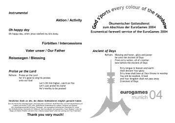 Liedzettel EuroGames Gottesdienst - Ökumenischer CSD-Gottesdienst