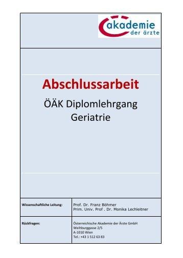 Die Anämie beim geriatrischen Patienten - Österreichische ...