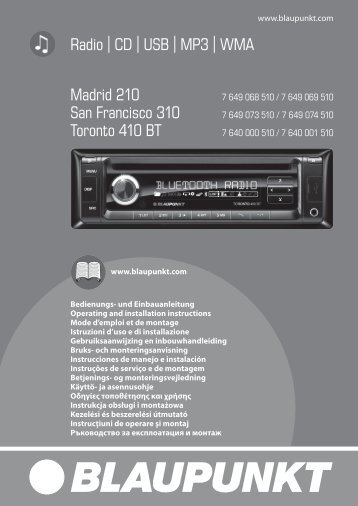 Madrid 210; San Francisco 310; Toronto 410 BT - Blaupunkt