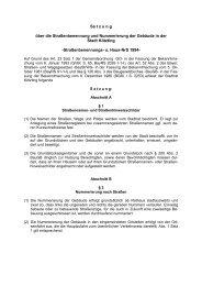 Satzung über die Straßenbenennung und Nummerierung der ...