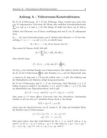 Anhang A - Vektorraum-Konstruktionen - Math.uni-wuppertal.de