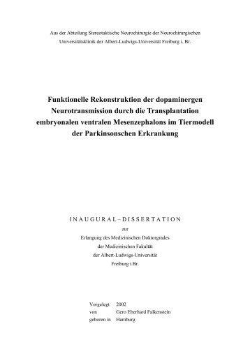 Funktionelle Rekonstruktion der dopaminergen Neurotransmission ...