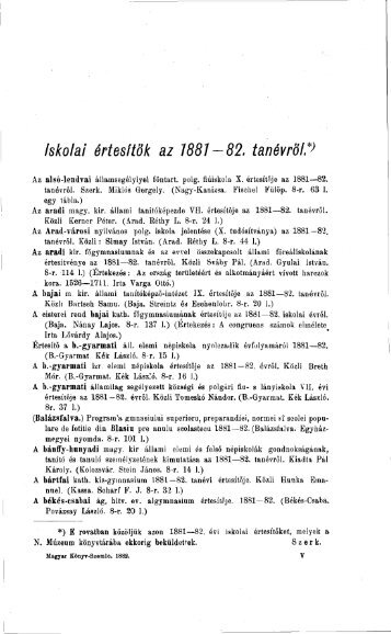 Iskolai értesítők az 1881-82. tanévről - EPA