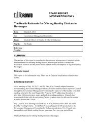 STAFF REPORT INFORMATION ONLY The Health ... - City of Toronto