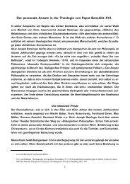 Der personale Ansatz in der Theologie von Papst Benedikt ... - Kath.de