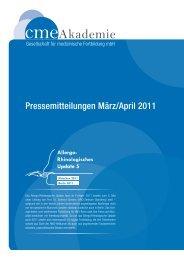 Pressemitteilungen März/April 2011 - cmeAkademie