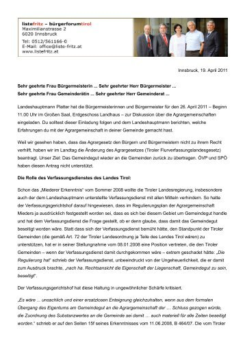 Innsbruck, 19. April 2011 Sehr geehrte Frau ... - Liste Fritz