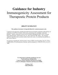 FDA Guidance for Industry - Immunogenicity Assessment for Therapeutic Protein Products