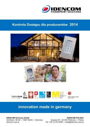 Katalog 2014 Czytniki linii papilarnych dla producentow drzwi, okuc, dla branzy metalowej i elektrotechnicznej innovation made in germany