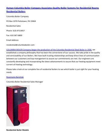 Dyman Columbia Boiler Company Associates Quality Boiler Systems for ...