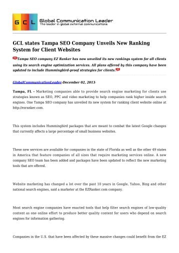 GCL states Tampa SEO Company Unveils New Ranking System for Client Websites