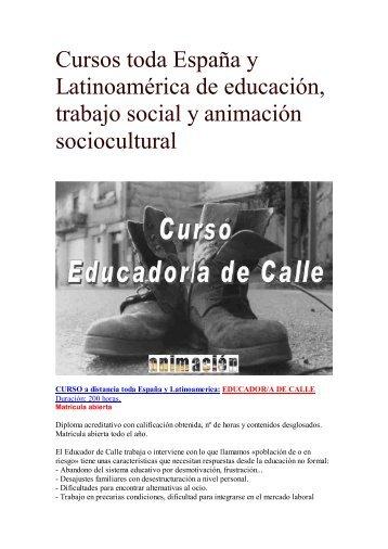 Curso Educador de Calle (Educador en Medio Abierto)