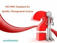 ISO 9001 Standard for Quality Management System
