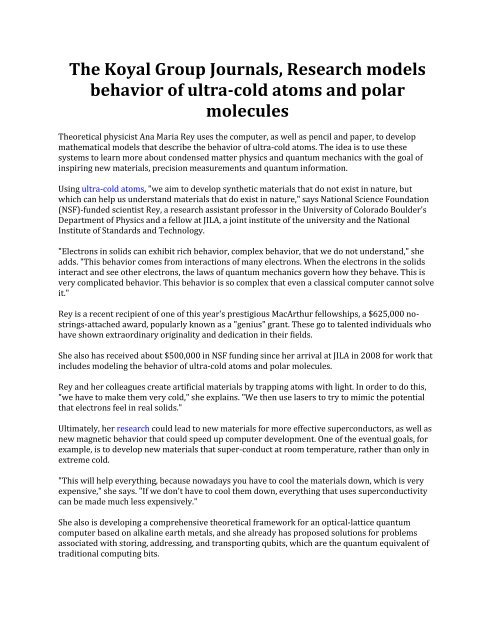 The Koyal Group Journals, Research models behavior of ultra-cold