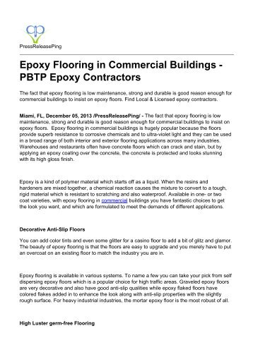 Epoxy Flooring in Commercial Buildings - PBTP Epoxy Contractors