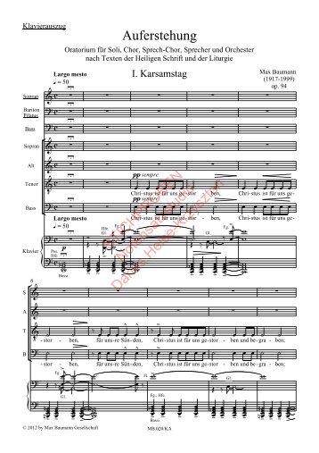 Max Baumann: Auferstehung, Klavierauszug