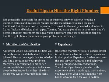 Useful Tips to Hire the Right Plumber