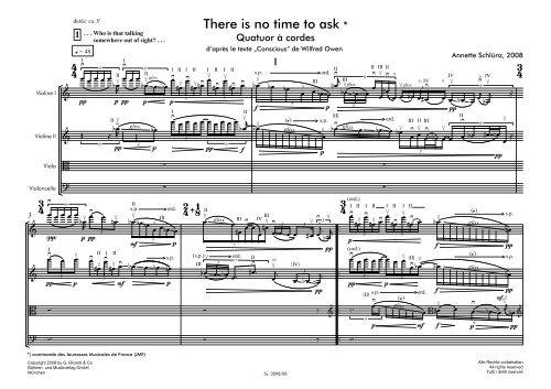 Annette Schluenz: Streichquartett, Partitur